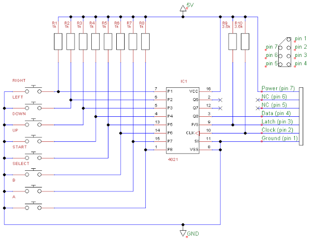 Wireless NES Controller with Arduino | The Poor Student Hobbyist on nes pinouts, nes controller dimensions, playstation 3 connections diagram, nes four score, nes controller schematic, nes controller disassembly, xbox 360 controller diagram, nes controller cable, nes controller circuit, nes joystick, joystick connection diagram, nes to usb, ps3 diagram, nes controller plug,